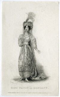 Mary Ann Paton (Mrs Wood) as Mandane, by Thomas Woolnoth, published by  John Cumberland, after  Thomas Charles Wageman - NPG D38566