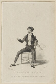 Richard Jones as Puff, by Thomas Woolnoth, published by  John Cumberland, after  Thomas Charles Wageman - NPG D38564