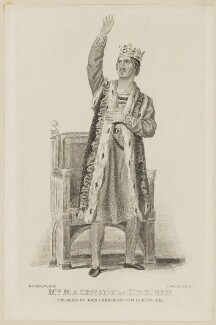 William Charles Macready as King John, by Thomas Woolnoth, published by  John Cumberland, after  Thomas Charles Wageman, before 1857 - NPG  - © National Portrait Gallery, London