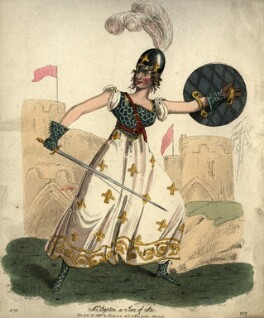 Sarah Egerton (née Fisher) as Joan of Arc in Fitzball's 'Joan of Arc', by 'P.R.', published by  Hodgson & Co - NPG D10965