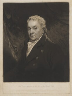 Sir Thomas Theophilus Metcalfe, Bt, by and published by William Ward, after  John Hoppner - NPG D38379