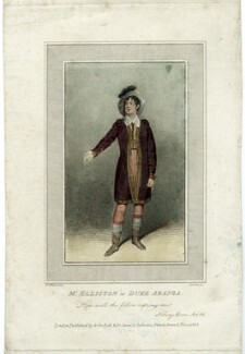 Robert William Elliston as Duke Aranza in 'The honey moon', by Edward Scriven, published by and for  Bell & De Camp, after  Samuel De Wilde - NPG D38575
