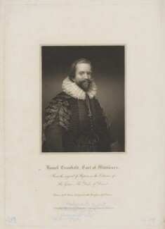 Lionel Cranfield, 1st Earl of Middlesex, by Edward Scriven, published by  Lackington, Allen & Co, published by  Longman, Hurst, Rees, Orme & Brown, after  William Haines, after  Daniel Mytens - NPG D38399