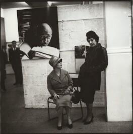 Ida Kar and an unknown woman at her Whitechapel Art Gallery exhibition, by Ida Kar - NPG x134144