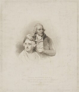 Joseph Nollekens with a bust of Charles James Fox, by Giovanni Vendramini, published by  T. Cadell & W. Davies, after  William Evans, after  Lemuel Francis Abbott - NPG D38983