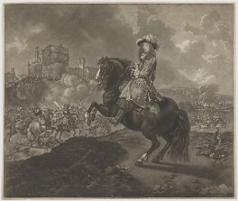 Unknown man engraved as James Scott, Duke of Monmouth and Buccleuch, by William Baillie, after  Caspar Netscher, after  Jan van Wyck - NPG D39265