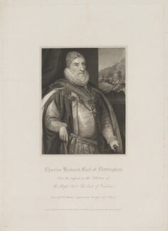 Charles Howard, 1st Earl of Nottingham, by Charles Picart, published by  Lackington, Hughes, Harding, Mavor & Jones, and published by  Longman, Hurst, Rees, Orme & Brown, after  Robert William Satchwell, after  Daniel Mytens - NPG D39329