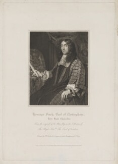 Heneage Finch, 1st Earl of Nottingham, by William Thomas Fry, published by  Lackington, Hughes, Harding, Mavor & Jones, and published by  Longman, Hurst, Rees, Orme & Brown, after  Robert William Satchwell, possibly after  Sir Godfrey Kneller, Bt - NPG D39330