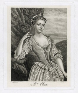 Catherine ('Kitty') Clive (née Raftor) as Phillida in Cibber's 'Damon and Phillida', by William John Alais, after  John Faber Jr, after  Peter van Bleeck - NPG D39419
