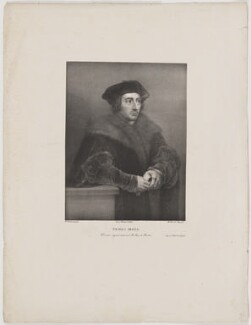 Sir Thomas More, by Gaspar Sensi, supervised by  José de Madrazo y Agudo, printed by  Real Establecimiento Litográfico, after  Sir Peter Paul Rubens, after  Hans Holbein the Younger - NPG D39010