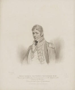 Sir Thomas Troubridge, 1st Bt, by Marie Anne Bourlier, published by  T. Cadell & W. Davies, after  William Evans, after  Sir William Beechey, published 7 February 1814 - NPG D39414 - © National Portrait Gallery, London