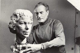 Franta Belsky with his bust of Queen Elizabeth II, by Don Honeyman, for  The Times - NPG x14715