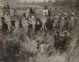'Viewing a tiger shot by King George V', by Ernest Brooks - NPG x134356