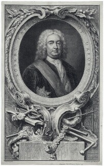 Robert Walpole, 1st Earl of Orford, by Jacobus Houbraken, published by  John & Paul Knapton, after  Arthur Pond - NPG D39366