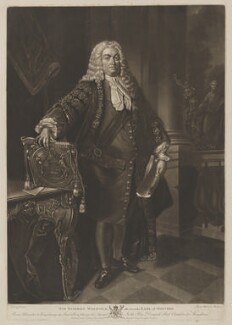 Robert Walpole, 1st Earl of Orford, by James Watson, published by  John Boydell, and published by  Josiah Boydell, after  Jean Baptiste van Loo - NPG D39367