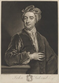 John Tidcomb, by John Faber Jr, after  Sir Godfrey Kneller, Bt - NPG D39606