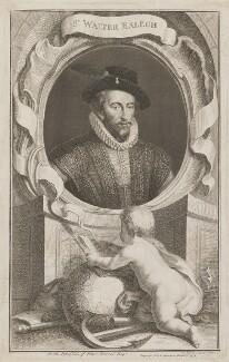 Sir Walter Ralegh (Raleigh), by Jacobus Houbraken, published by  John & Paul Knapton - NPG D39188