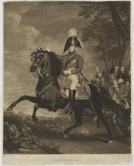HRH The Prince of Wales at a Review, by Charles Turner, after  John Singleton Copley - NPG D10983