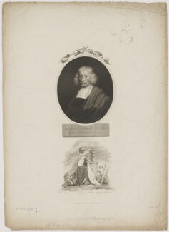 John Ray with 'Britannia crowning Ray as the Prince of English Botanists', by William Holl Sr, published by  Robert John Thornton, after  Thomas Uwins, and after  Unknown artist - NPG D39221