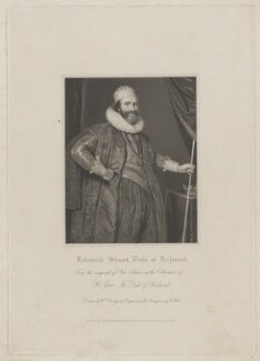 Ludovic Stuart, 1st Duke of Richmond and 2nd Duke of Lennox, by William Holl Sr, published by  Harding, Triphook & Lepard, after  William Derby, after  Paul van Somer - NPG D39732