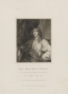 James Stuart, 1st Duke of Richmond and 4th Duke of Lennox, by William Thomas Fry, published by  Lackington, Allen & Co, published by  Longman, Hurst, Rees, Orme & Brown, after  Robert William Satchwell, after  Sir Anthony van Dyck - NPG D39736