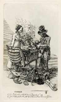 Two unknown sitters mending pans ('Tinker'), by and published by John Thomas Smith - NPG D40088
