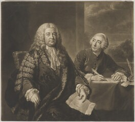 Henry Pelham; John Roberts, by Richard Houston, after  John Shackleton - NPG D40107