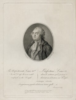 Louis XVI, by Francesco Bartolozzi, published by  C. Guisan, sold by  J.F. Tomkins, after  Pierre Noel Violet, published 12 February 1793 - NPG D40201 - © National Portrait Gallery, London