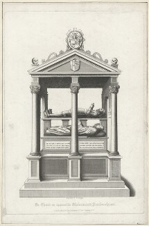 Tomb of Sir Nicholas Bacon in St Paul's, by William Finden, published by  Lackington & Co, and published by  Longman & Co, early 19th century - NPG D40123 - © National Portrait Gallery, London