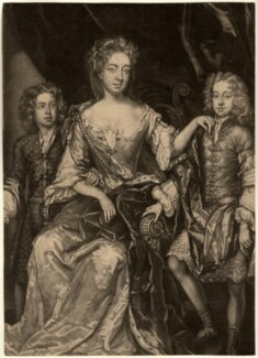 James Scott, Earl of Dalkeith; Anna Scott, Duchess of Monmouth and Duchess of Buccleuch; Henry Scott, 1st Earl of Deloraine, by John Smith, after  Sir Godfrey Kneller, Bt, 1688 - NPG D10986 - © National Portrait Gallery, London