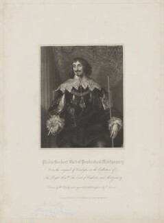 Philip Herbert, 4th Earl of Pembroke, by Edward Scriven, published by  Harding & Lepard, after  William Derby, after  Sir Anthony van Dyck - NPG D40127