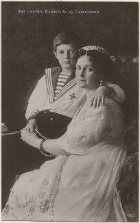 Alexei, Tsarevich and Grand Duke of Russia; Alexandra, Empress of Russia (née Princess Alix of Hesse and by Rhine), by Unknown photographer, 1910s - NPG x131649 - © National Portrait Gallery, London