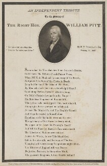 An Independent Tribute to the Memory of the Right Hon. William Pitt, by James Godby, printed by  John Nichols, after  Edward Orme - NPG D40246