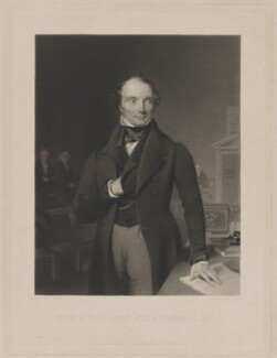 John Russell, 1st Earl Russell, by Samuel Bellin, printed by  Brooker & Harrison, published by  George Routledge, after  Thomas Heathfield Carrick - NPG D39927
