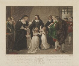 William Russell, Lord Russell taking leave of Lady Russell & Children on the day of his Execution, by Charles Knight, published by  J. Deeley, after  Thomas Stothard - NPG D39936