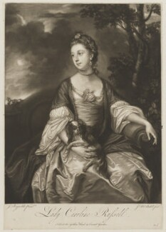 Lady Caroline Spencer (née Russell), Duchess of Marlborough, by and sold by James Macardell, after  Sir Joshua Reynolds, early 1760s (circa 1759-1762) - NPG D39945 - © National Portrait Gallery, London
