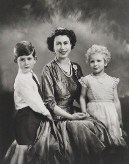 Prince Charles; Queen Elizabeth II; Princess Anne, by Marcus Adams - NPG P1407