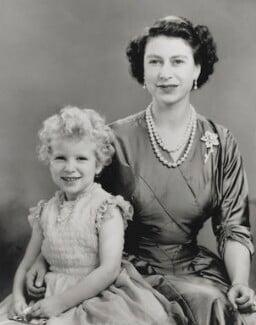 Queen Elizabeth II; Princess Anne, by Marcus Adams - NPG P1406
