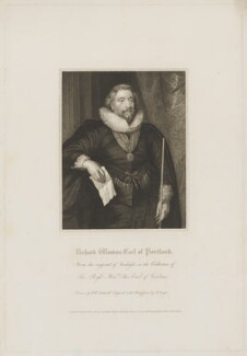 Richard Weston, 1st Earl of Portland, by Robert Cooper, published by  Lackington, Hughes, Harding, Mavor & Jones, and published by  Longman, Hurst, Rees, Orme & Brown, after  Robert William Satchwell, after  Sir Anthony van Dyck - NPG D40373