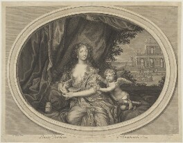 Louise de Kéroualle, Duchess of Portsmouth, by Étienne Baudet, after  Henri Gascar, circa 1673 - NPG D40383 - © National Portrait Gallery, London