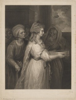 Mrs Seaforth ('The Vestal'), by Peltro William Tomkins, published by  Thomas Macklin, after  Sir Joshua Reynolds - NPG D39970