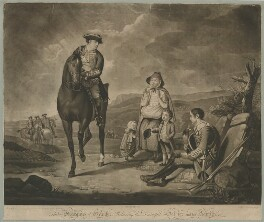 John Manners, Marquess of Granby ('Relieving the Distress'd Soldier and his Family'), by Richard Houston, published by  Robert Sayer, after  Edward Penny - NPG D39975