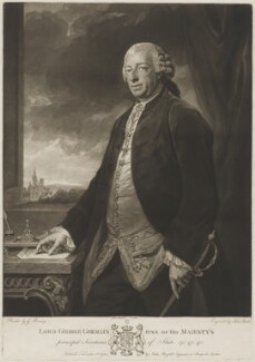 George Sackville Germain, 1st Viscount Sackville, by Johann Jacobé, published by  John Boydell, after  George Romney - NPG D39984