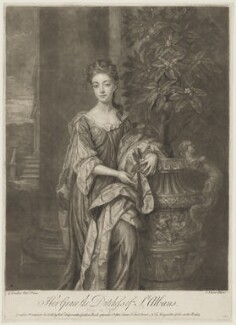 Diana Beauclerk (née de Vere), Duchess of St Albans, by John Faber Jr, printed for and sold by  Robert Sayer, sold by  John King, after  Sir Godfrey Kneller, Bt - NPG D39996