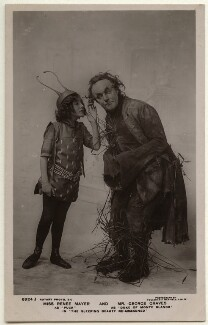 Renée Mayer as Puck and George Graves as Duke of Monte Blanco in 'The Sleeping Beauty Re-awakened', by Foulsham & Banfield, published by  Rotary Photographic Co Ltd - NPG Ax160115