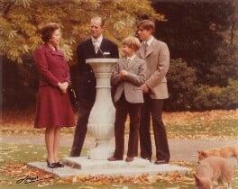 Queen Elizabeth II; Prince Philip; Prince Edward; Prince Andrew, Duke of York, by Godfrey Argent - NPG P1411