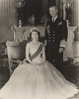Queen Elizabeth II; Prince Philip, Duke of Edinburgh, by Baron Studios - NPG P1435