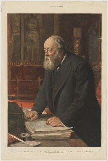 Robert Gascoyne-Cecil, 3rd Marquess of Salisbury speaking in the House of Lords, supplement to The Graphic, after  Sydney Prior Hall - NPG D40038