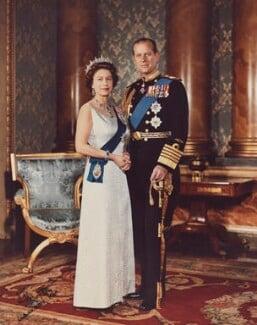 Queen Elizabeth II; Prince Philip, Duke of Edinburgh, by Anthony Buckley - NPG P1514