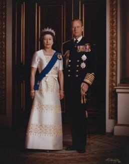Queen Elizabeth II; Prince Philip, Duke of Edinburgh, by Dennis Constantine - NPG P1523